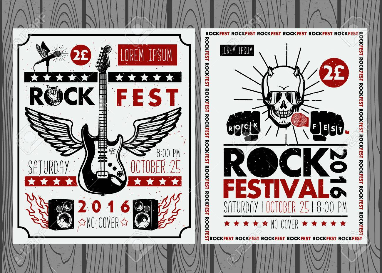 4881ce374 Vector - Vintage rock festival posters. Set of vector symbols related to  rock and roll.