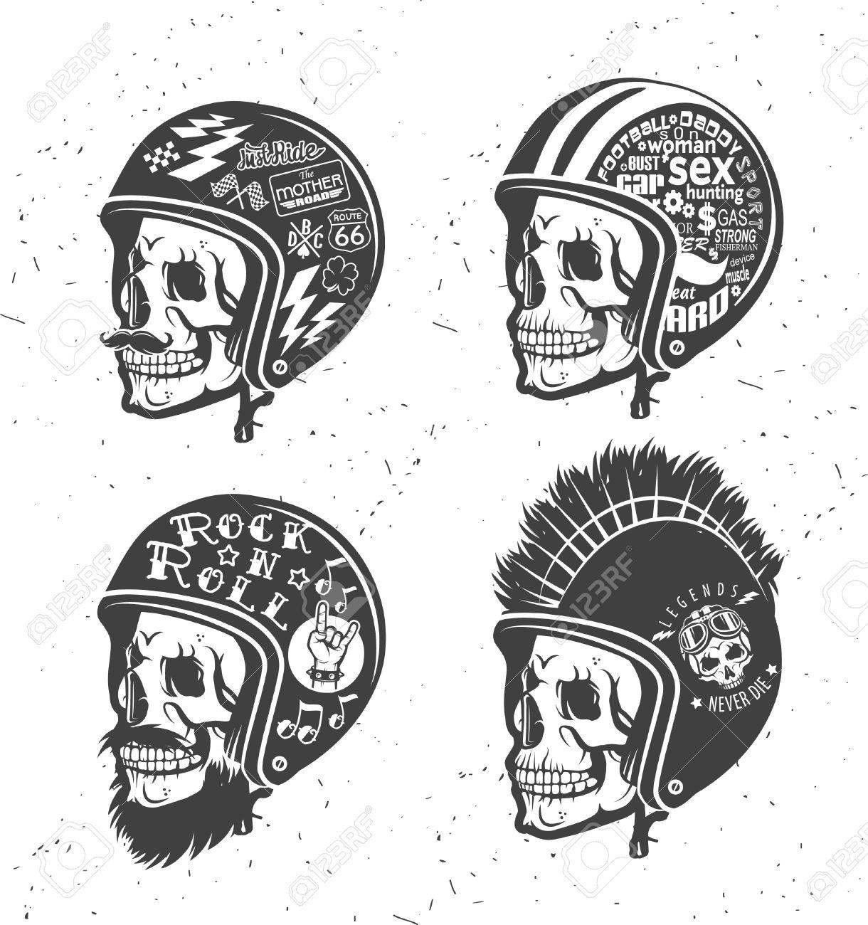 Moto Thème Casques De Dessin à La Main Avec Le Crâne Casques Fixés