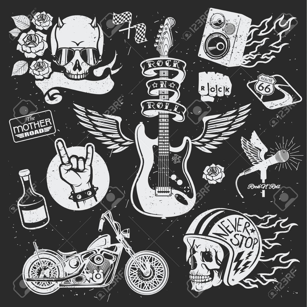 bf25b5c5a Rock themed badges. Vector set. Set of vector symbols related to rock and  roll