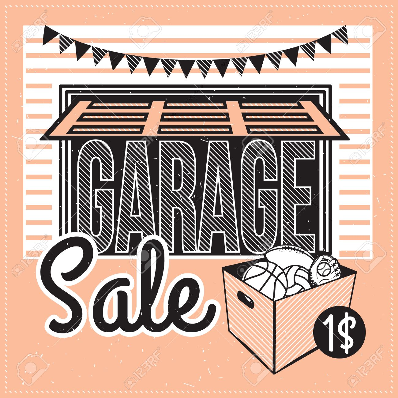 Garage Or Yard Sale With Signs, Box And Household Items. Vintage ...
