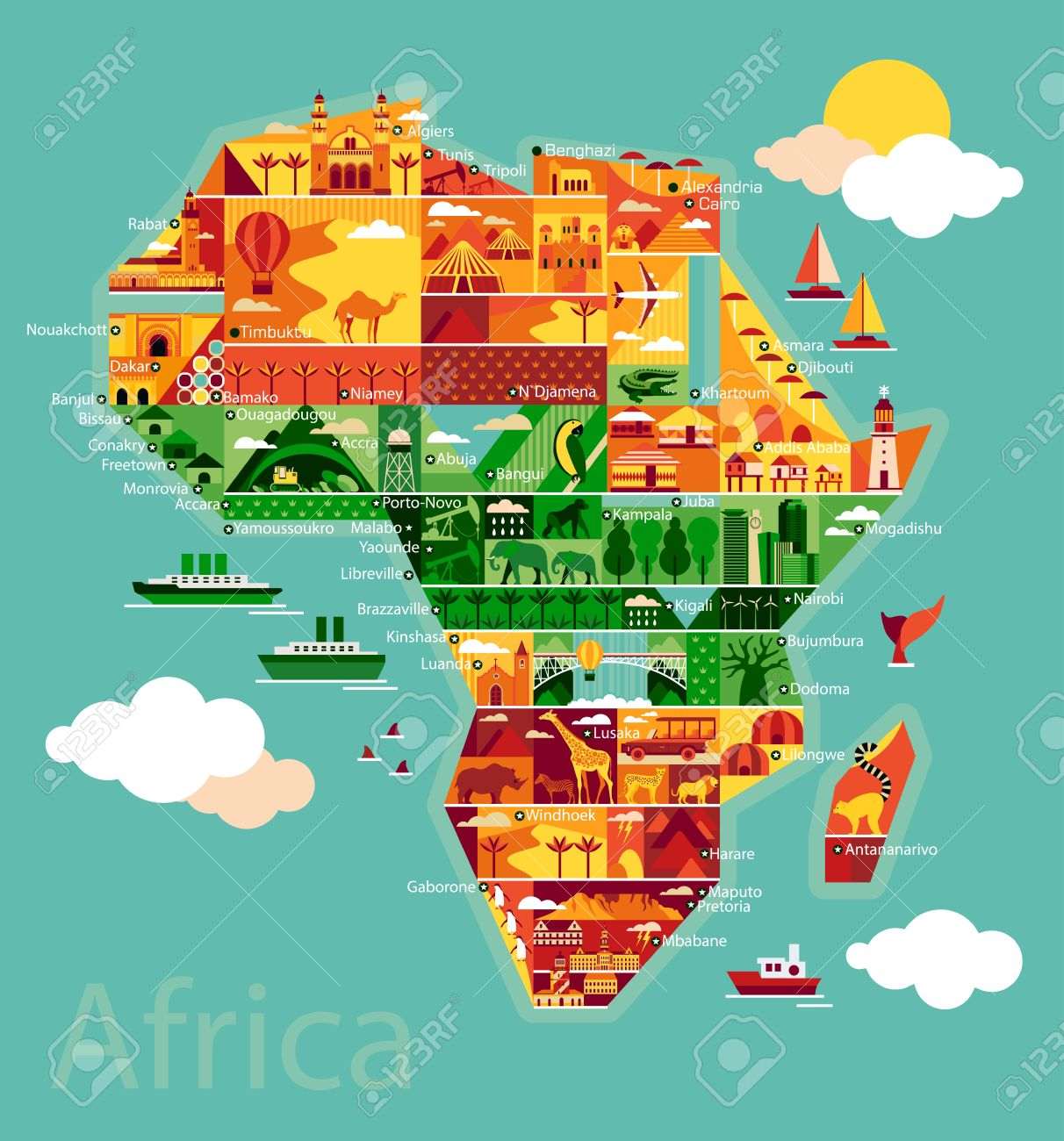 Africa map with landscape and animal. Vector illustration. - 50087695