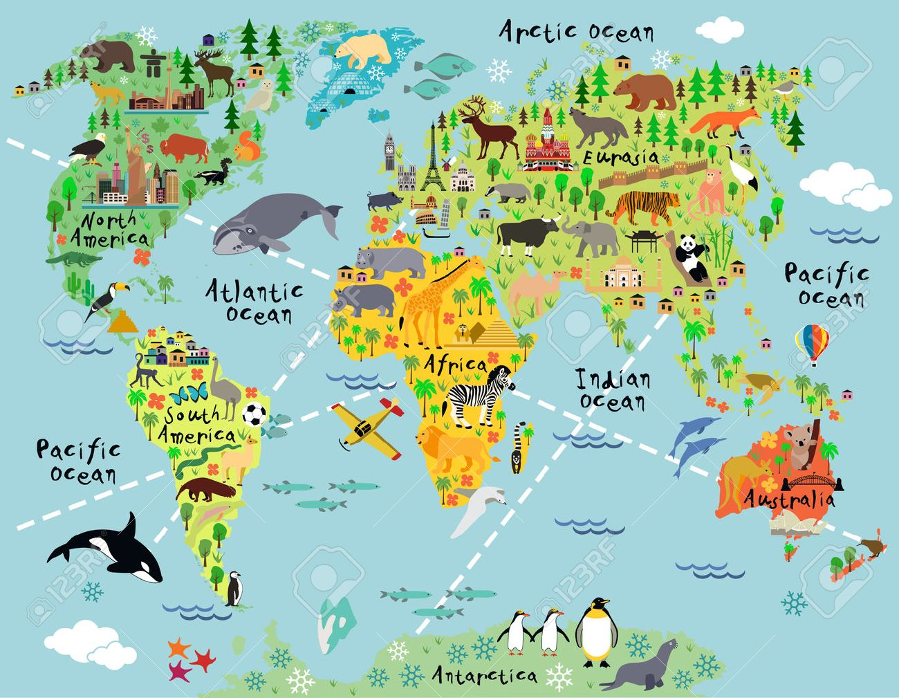 Cartoon world map with landscape and animal. Vector illustration. - 51372146