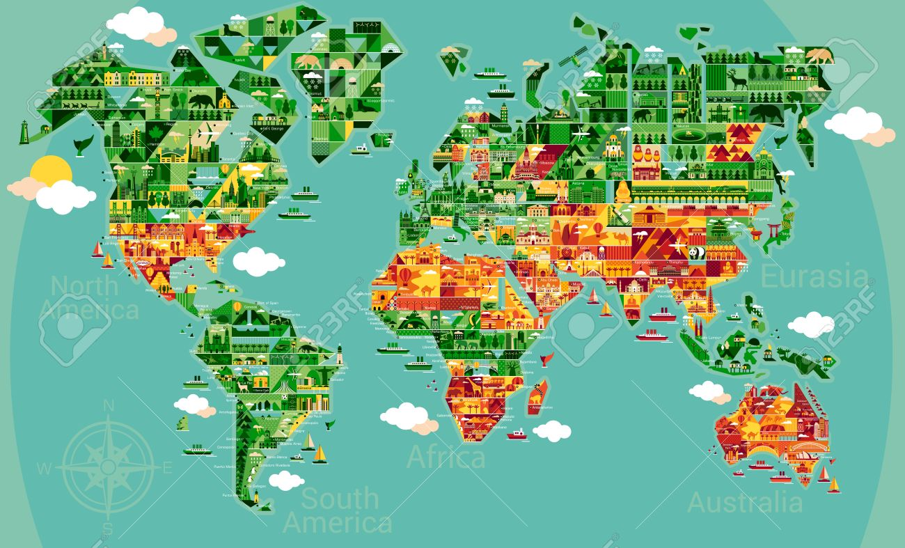 Cartoon world map with landscape and animal vector illustration cartoon world map with landscape and animal vector illustration stock vector 51363739 gumiabroncs Image collections