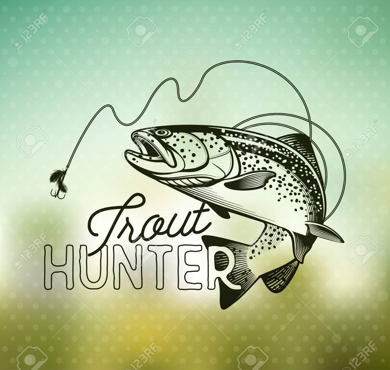 Trout Fishing emblem on blur background. Vector illustration. - 51914637