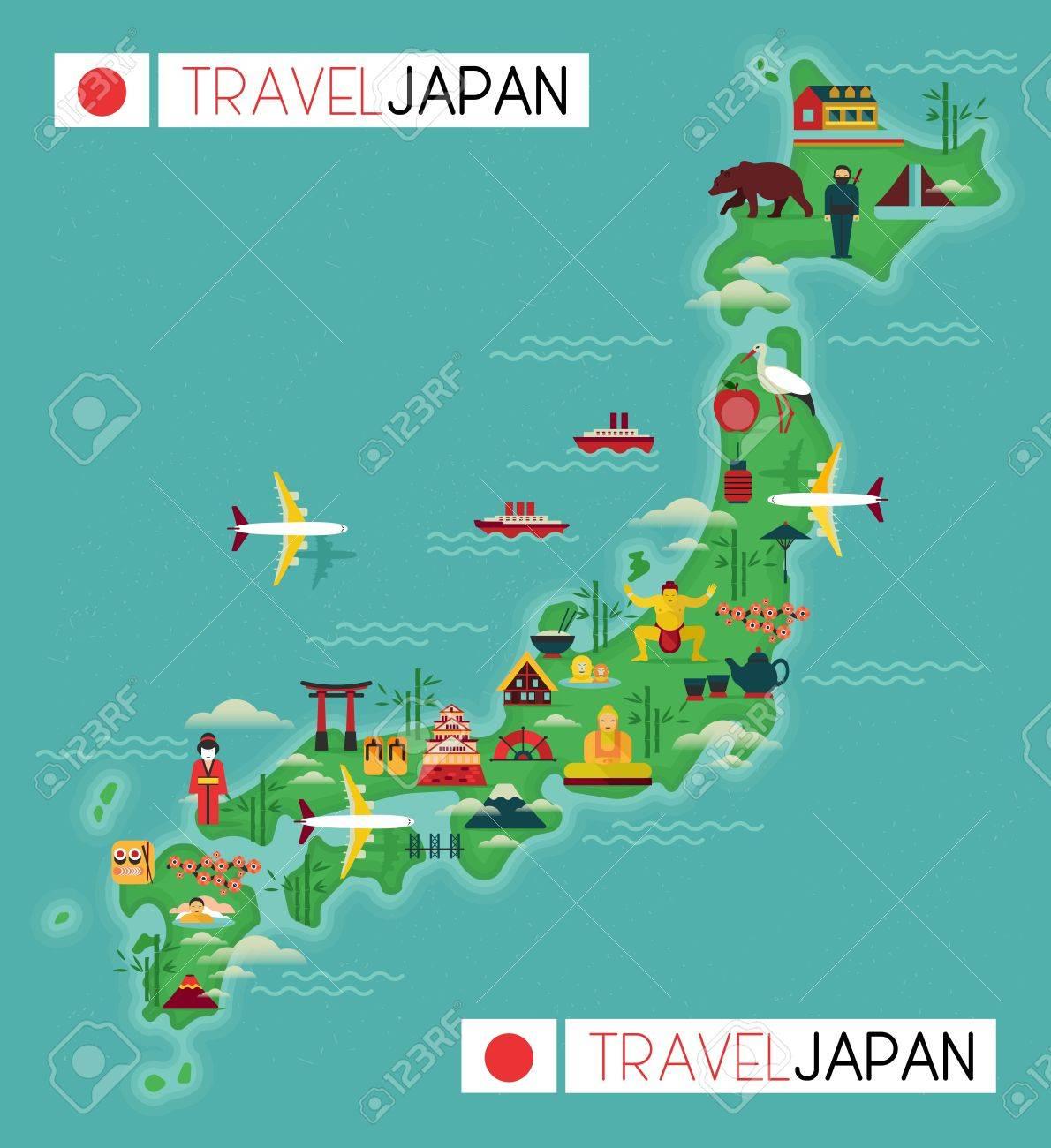 Japan Landmark And Travel Map Flat Design Elements And Icons - Japan map cartoon