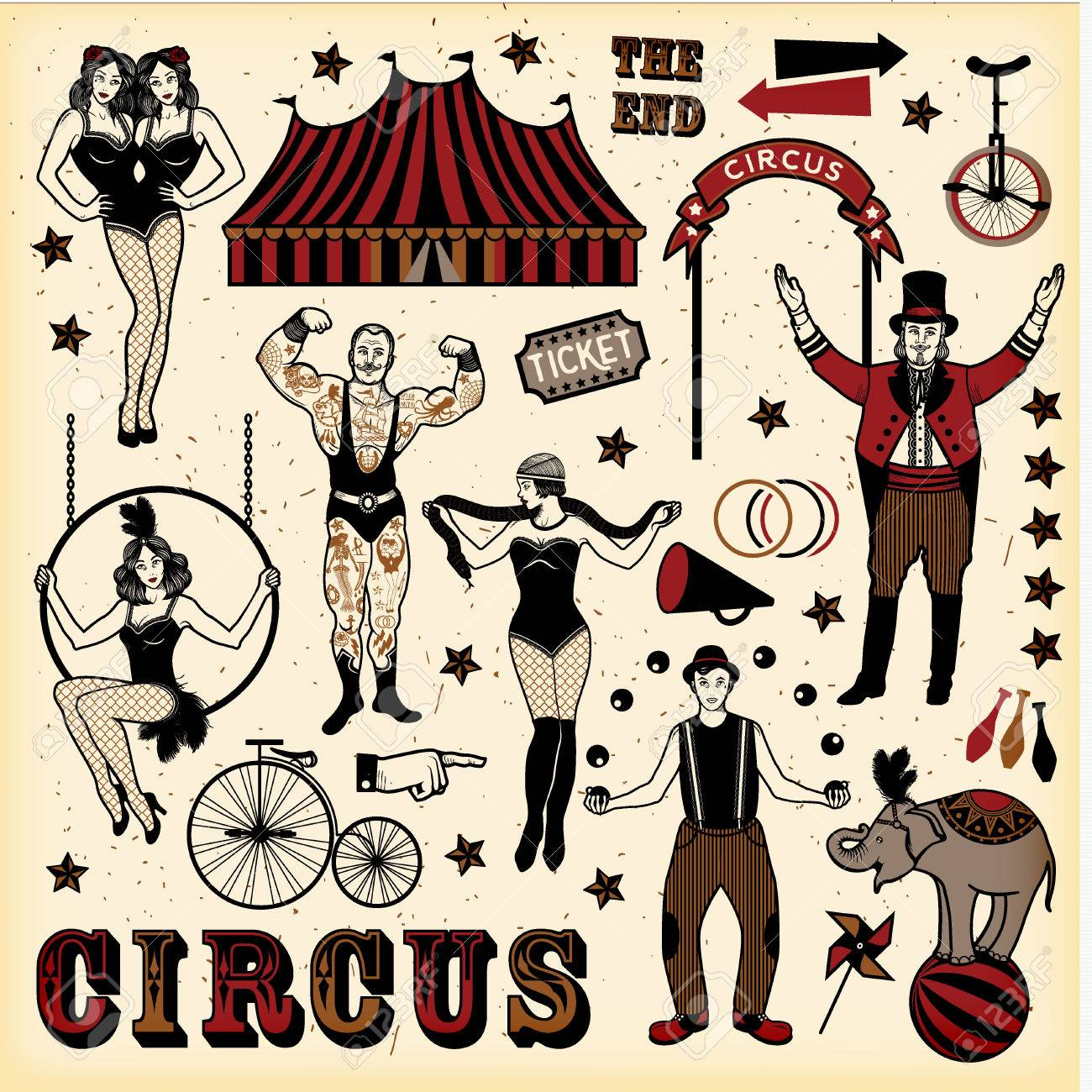 Circus set. Vintage Circus Set. Vector illustration. Illustration of circus  stars. Stock