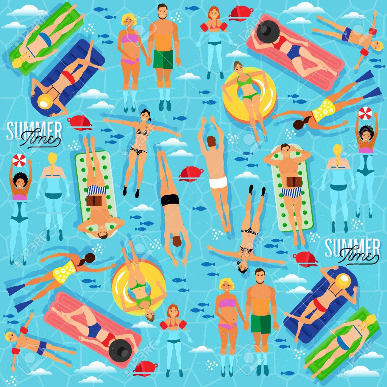 Summer Sea Vacation Illustration. Vector Seamless Pattern. - 55729889