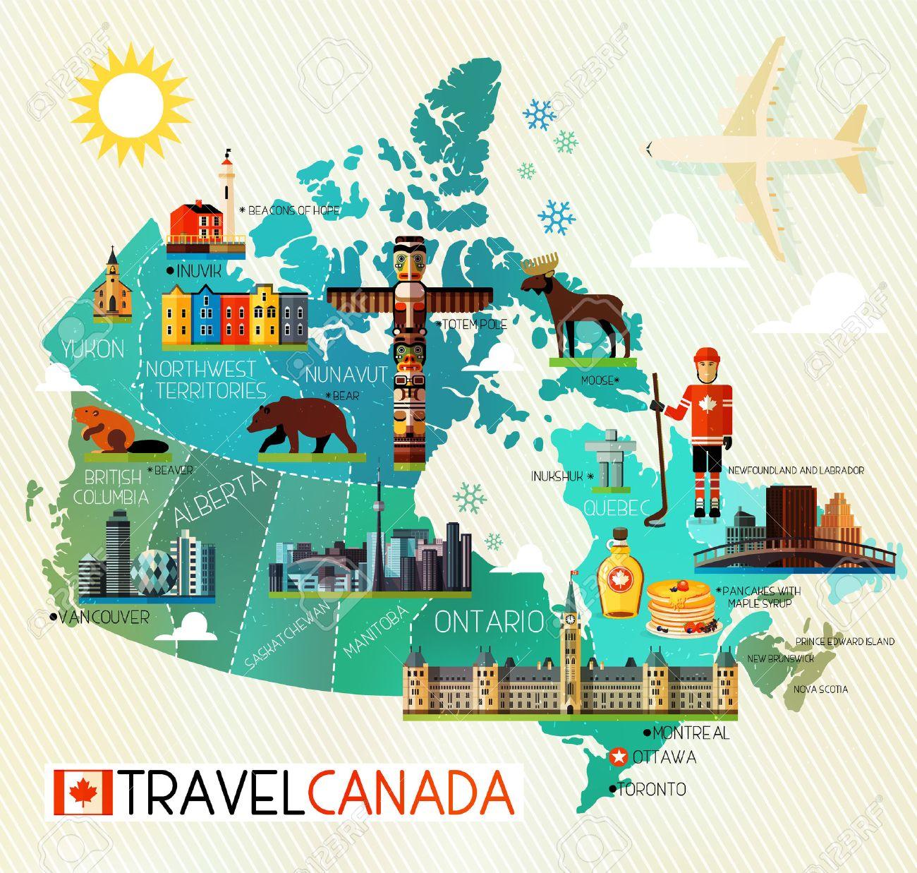 Mapa De Canada Y Los Iconos De Viaje Mapa De Viajes De Canada