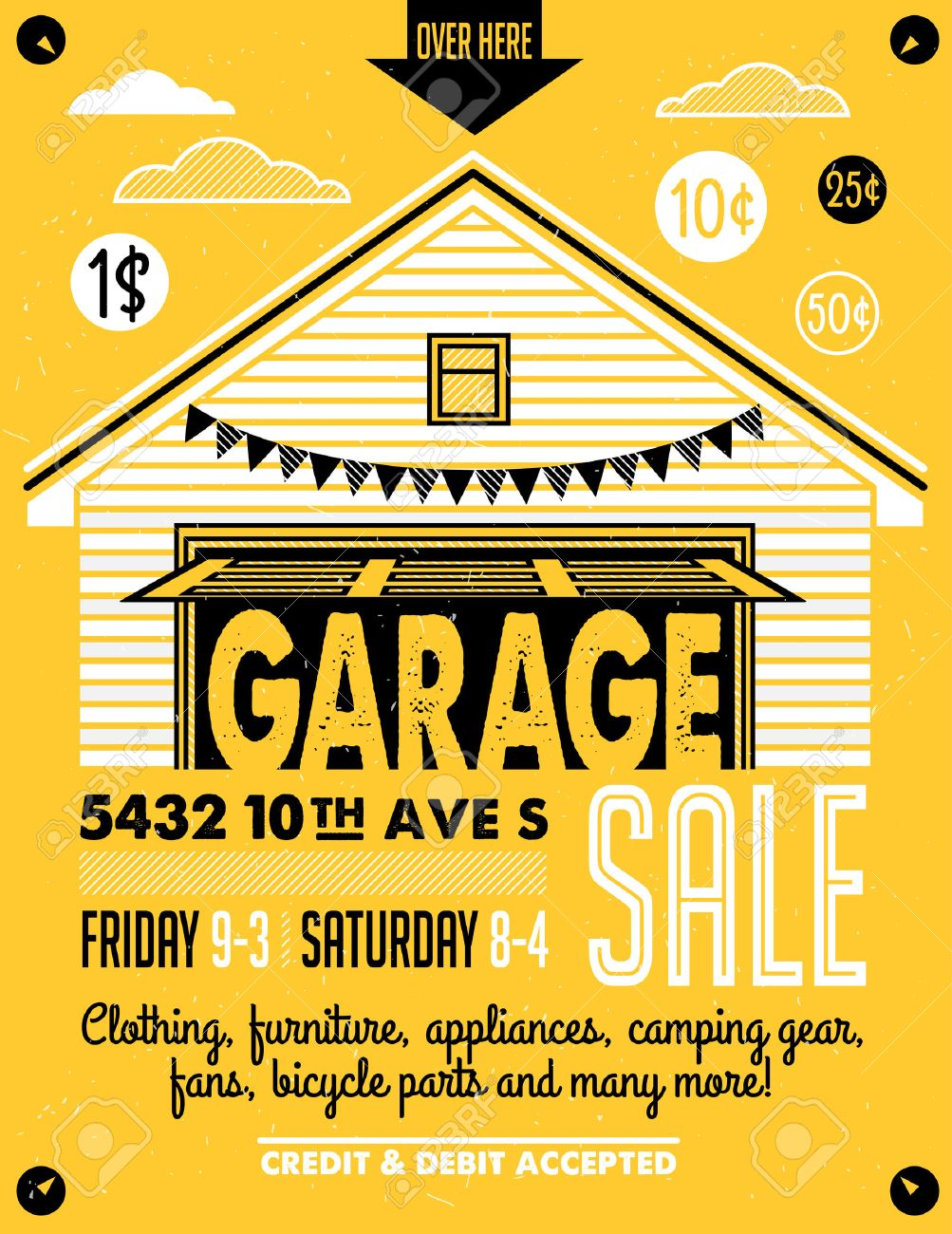 photo regarding Printable Yard Signs titled Garage or Backyard Sale with indicators, box and family products. Classic..
