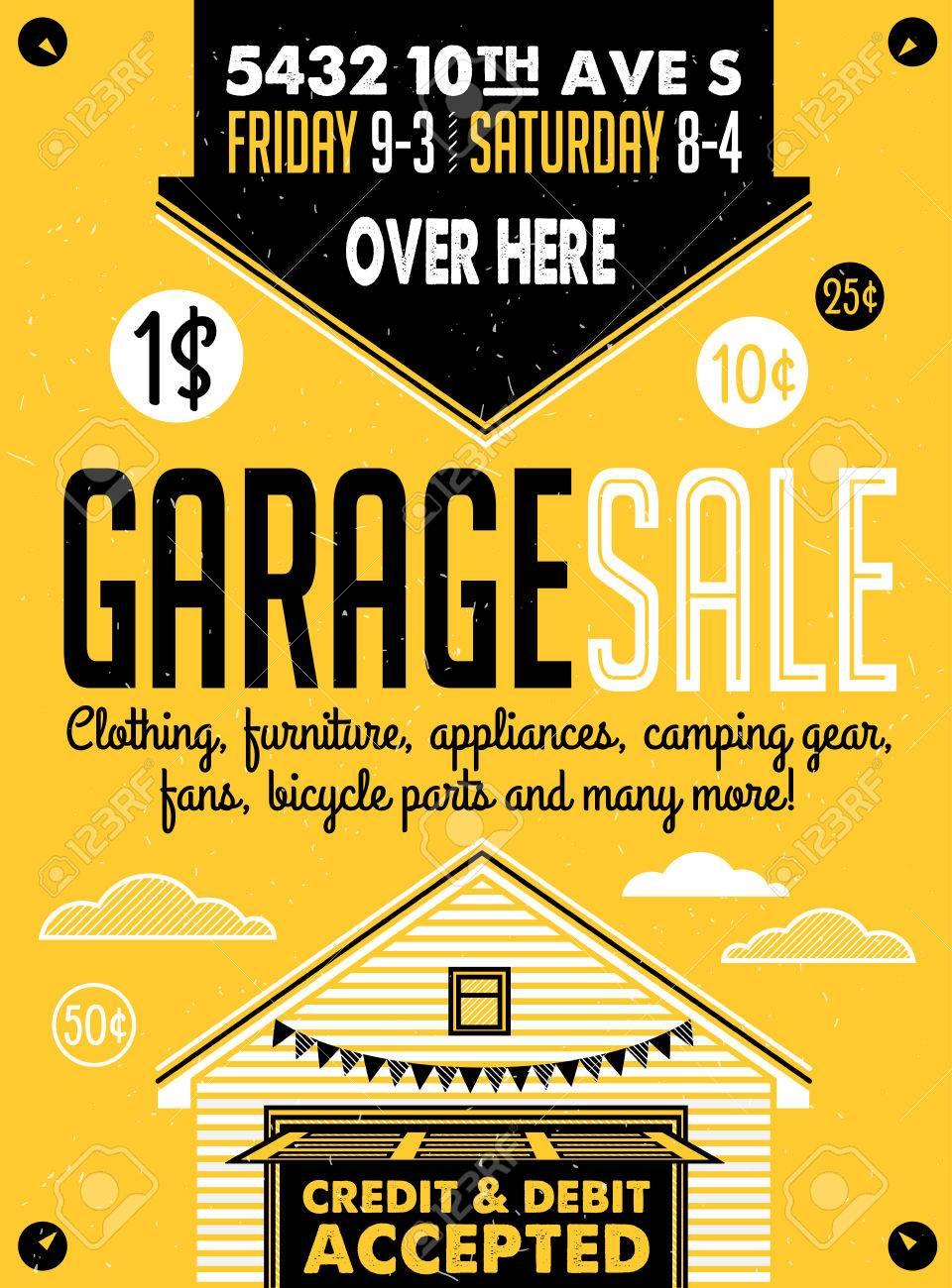 Garage Oder Yard Sale Mit Schildern, Box Und Haushaltsgegenstände ...