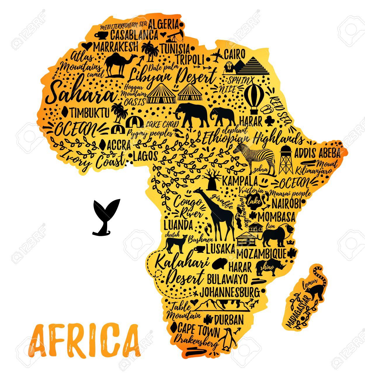 Karte Afrika.Stock Photo