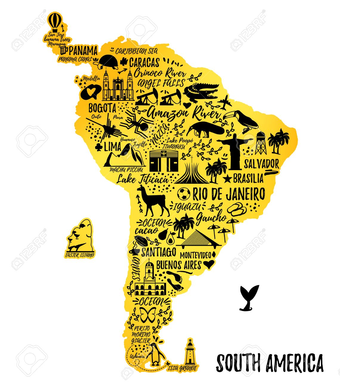 Typography Poster. South America Map. South America Travel Guide ...