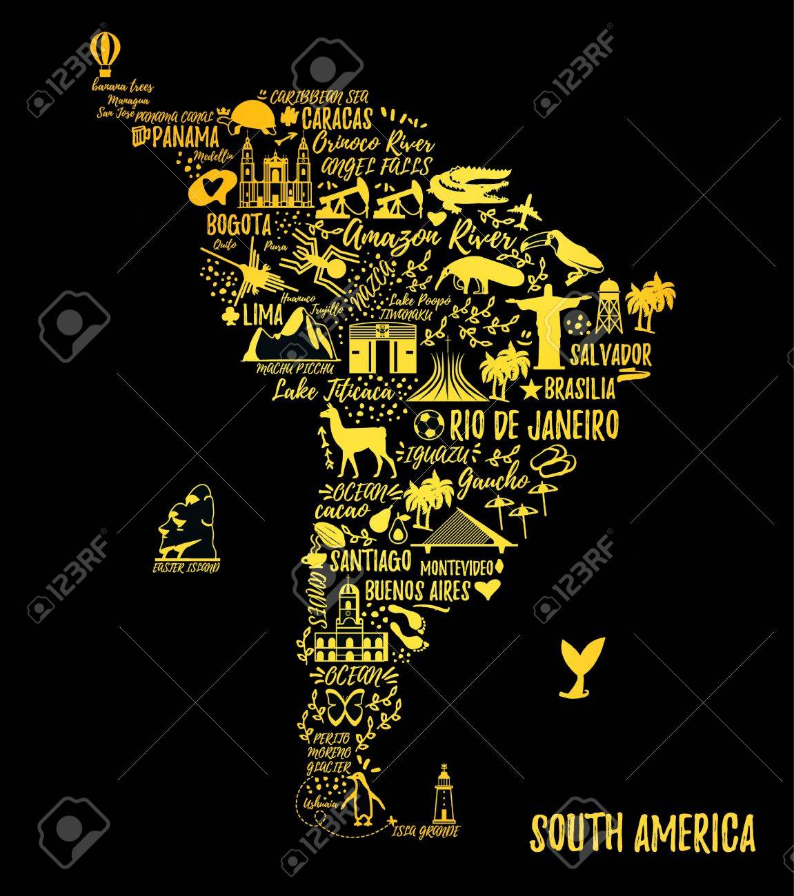 Map Of America Travel.Typography Poster South America Map South America Travel Guide