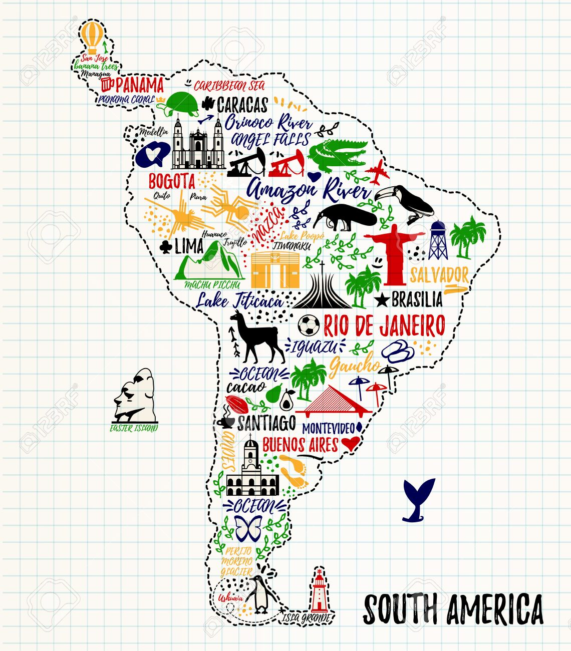 Typography Poster South America Map South America Travel Guide