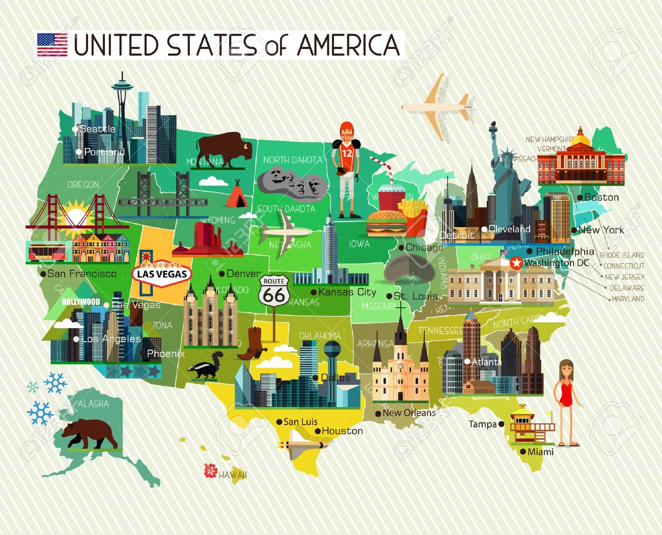 Map of the United States of America and Travel Icons. Vector.. United States Hollywood Map on walt disney world state map, terre haute state map, i love ny state map, florida state map, tampa state map, naples state map, mesa verde state map, pensacola state map, california state map, philly state map, oakland state map, louisville state map, miami state map, baltimore state map, boston state map, tv show state map, anaheim state map, seattle state map, white house state map, orlando state map,