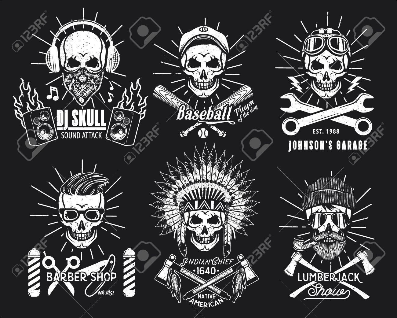 Cráneo Logotipo Conjunto. Ilustración Del Vector. DJ, Jugador De ...