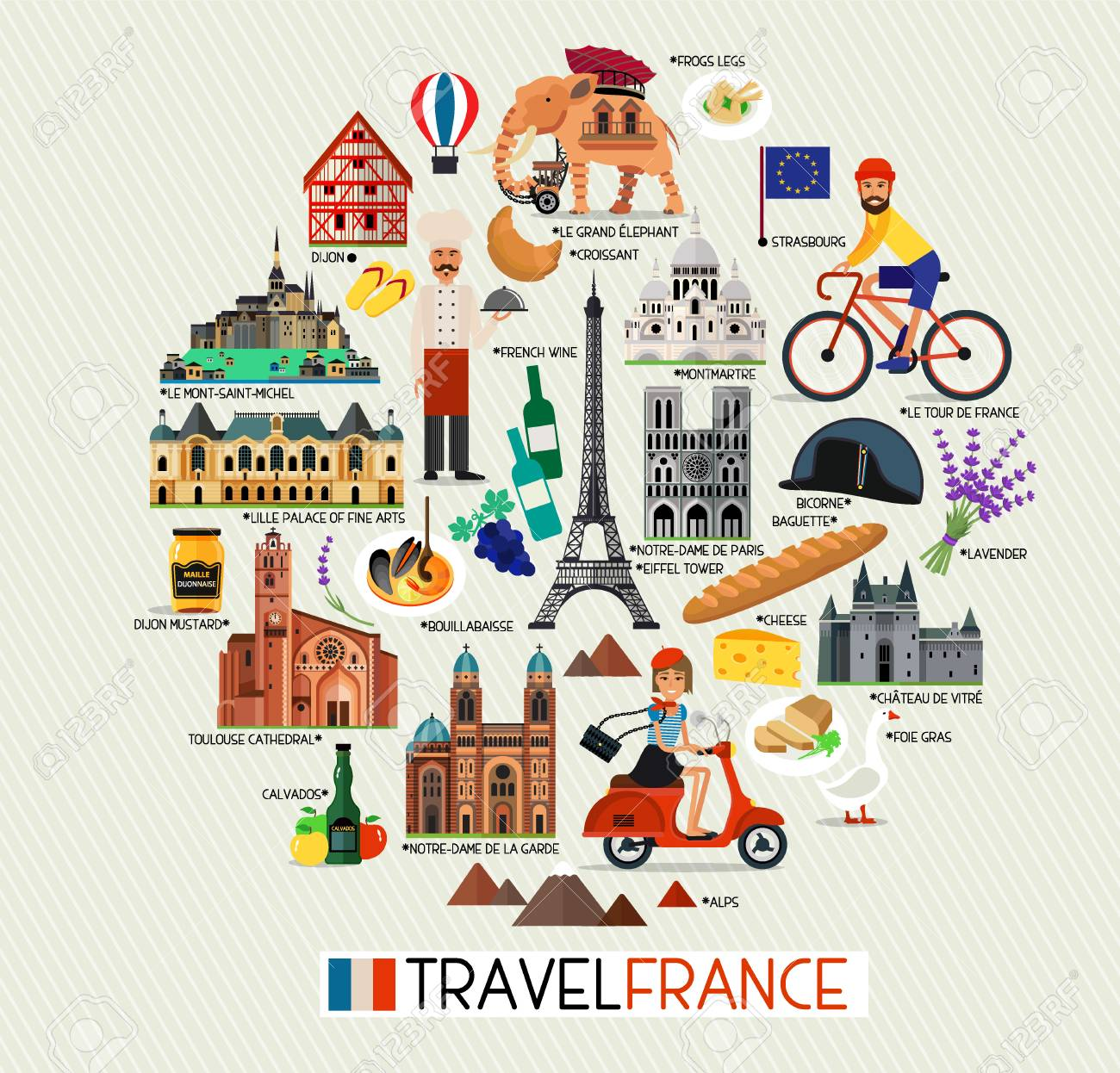 Travel Map Of France.France Landmarks And Travel Map France Travel Icons Vector