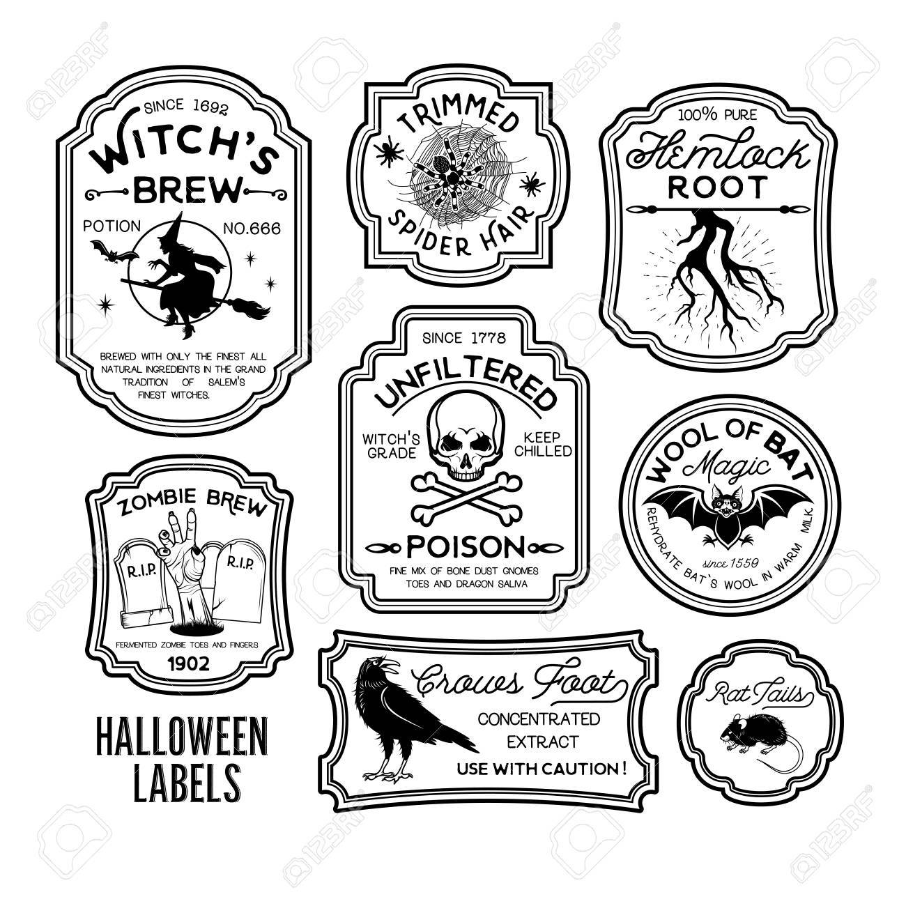 Set Of Halloween Bottle Labels Royalty Free Cliparts Vectors And Stock Illustration Image 87706481