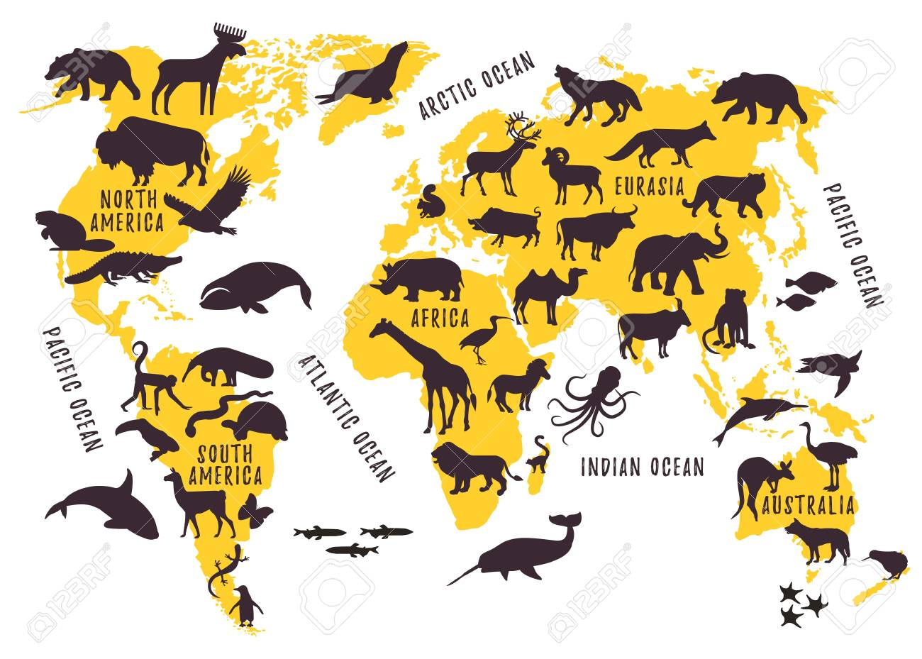 Cartoon World Map With Animals Silhouettes For Kids Vector
