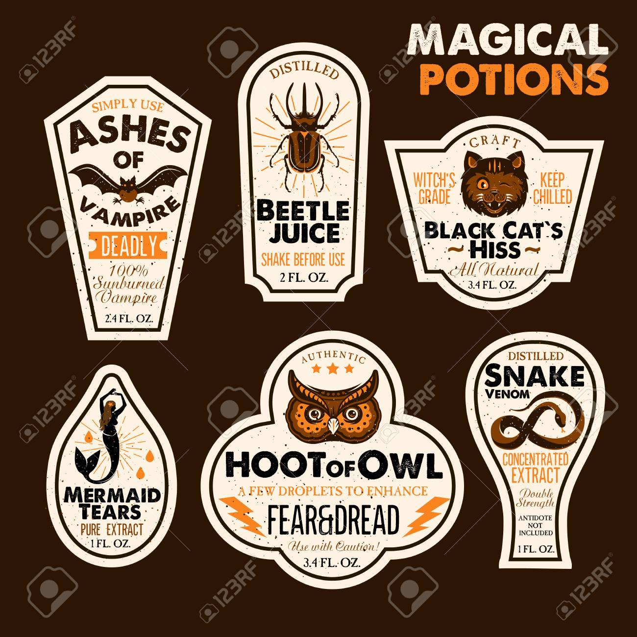 Halloween Bottle Labels Potion Labels Vector Illustration Royalty Free Cliparts Vectors And Stock Illustration Image 94979684