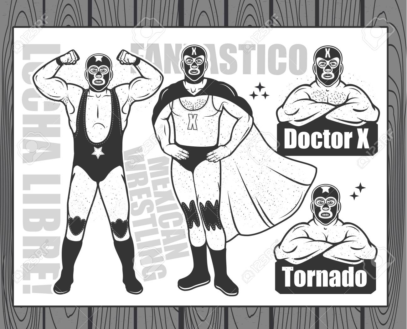Vintage Lucha Libre Ticket With Characters Doctor X And Tornado