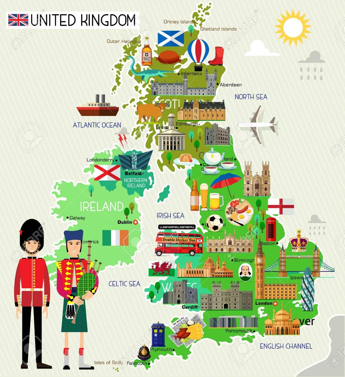 Map of United Kingdom and Travel Icons.United Kingdom Travel Map. Seamless Travel pattern of United Kingdom.Vector Illustration. - 99162449