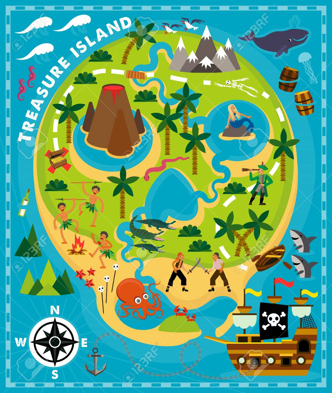 - Cartoon Pirate Map Treasure, Travel Adventure. Vector Illustration