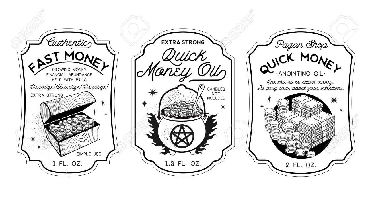 Money Oil Bottle Labels Potion Labels Vector Illustration Royalty Free Cliparts Vectors And Stock Illustration Image 130931659