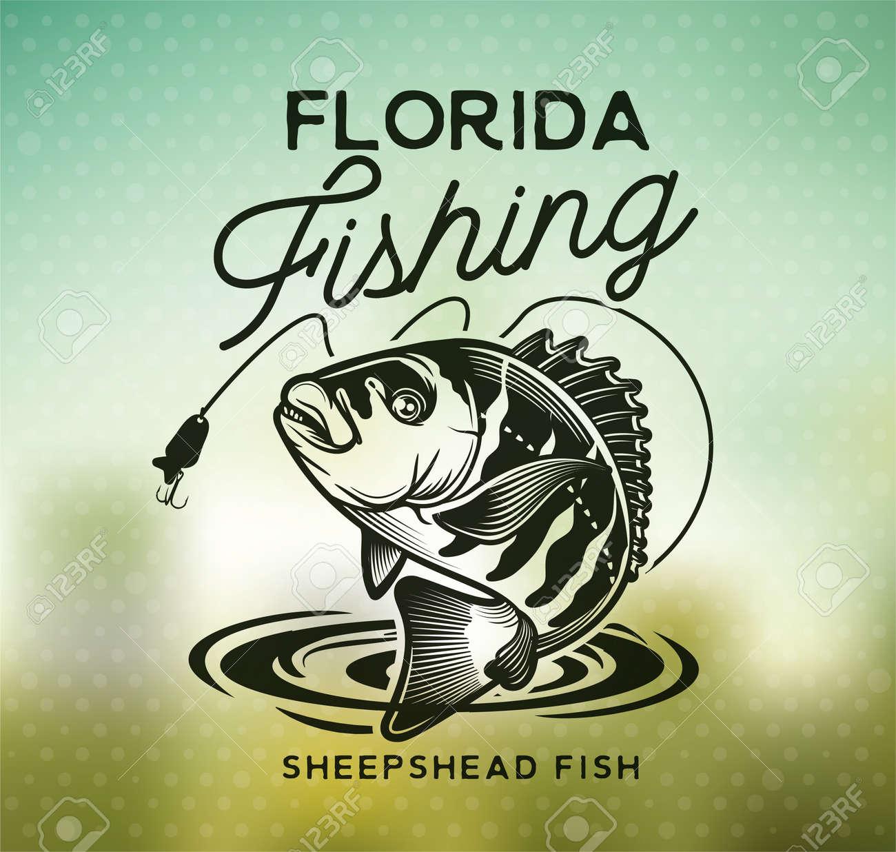 Vintage sheepshead fish emblems. and labels. Vector illustration. - 165690335