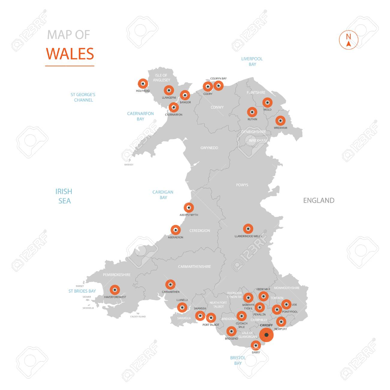 Stylized Vector Wales Map Showing Big Cities, Capital Cardiff ... on