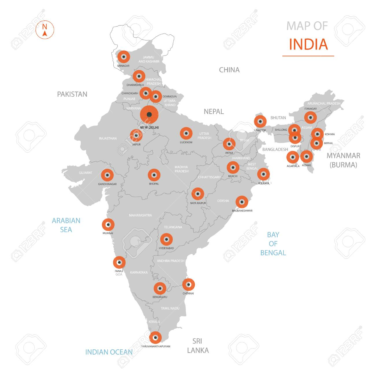 Stylized Vector India Map Showing Big Cities Capital New Delhi