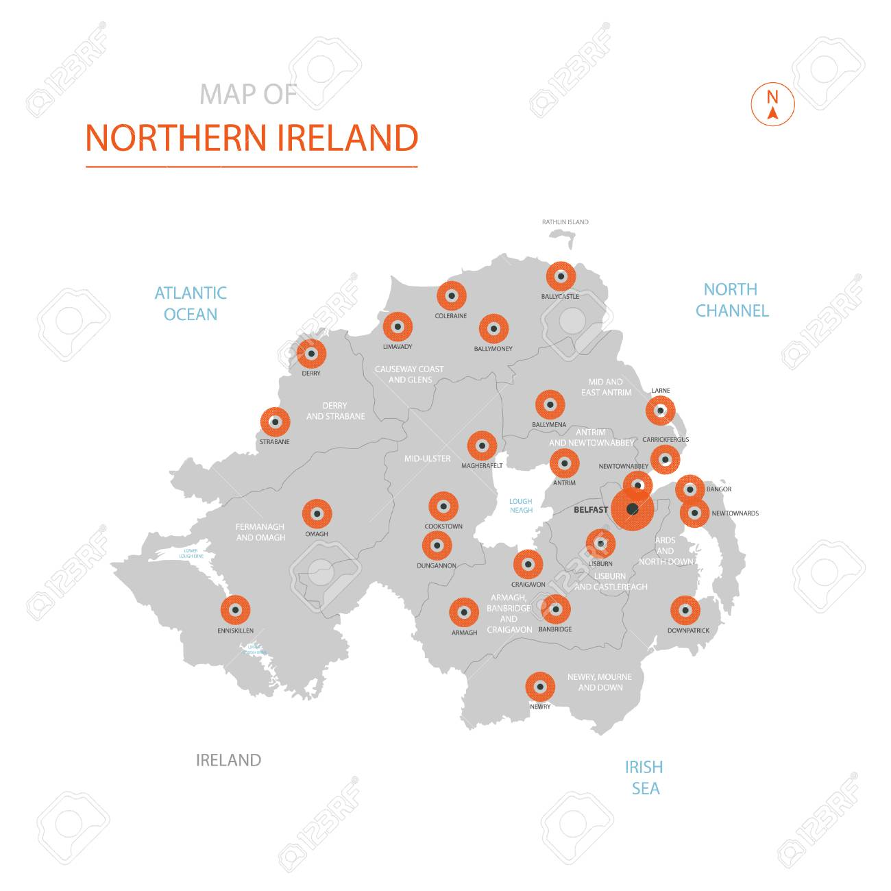 Map Of Northern Ireland Cities.Stylized Vector Northern Ireland Map Showing Big Cities Capital