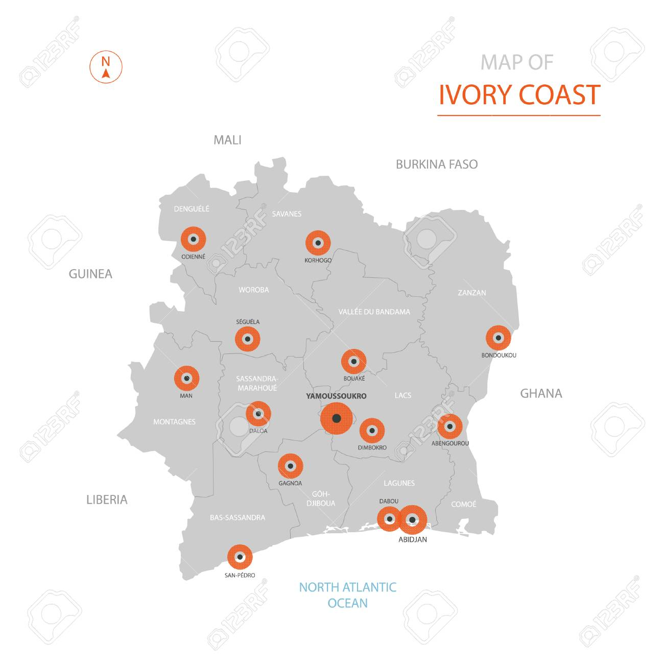 Stylized Vector Ivory Coast ( Côte D\'Ivoire) Map Showing Big Cities ...
