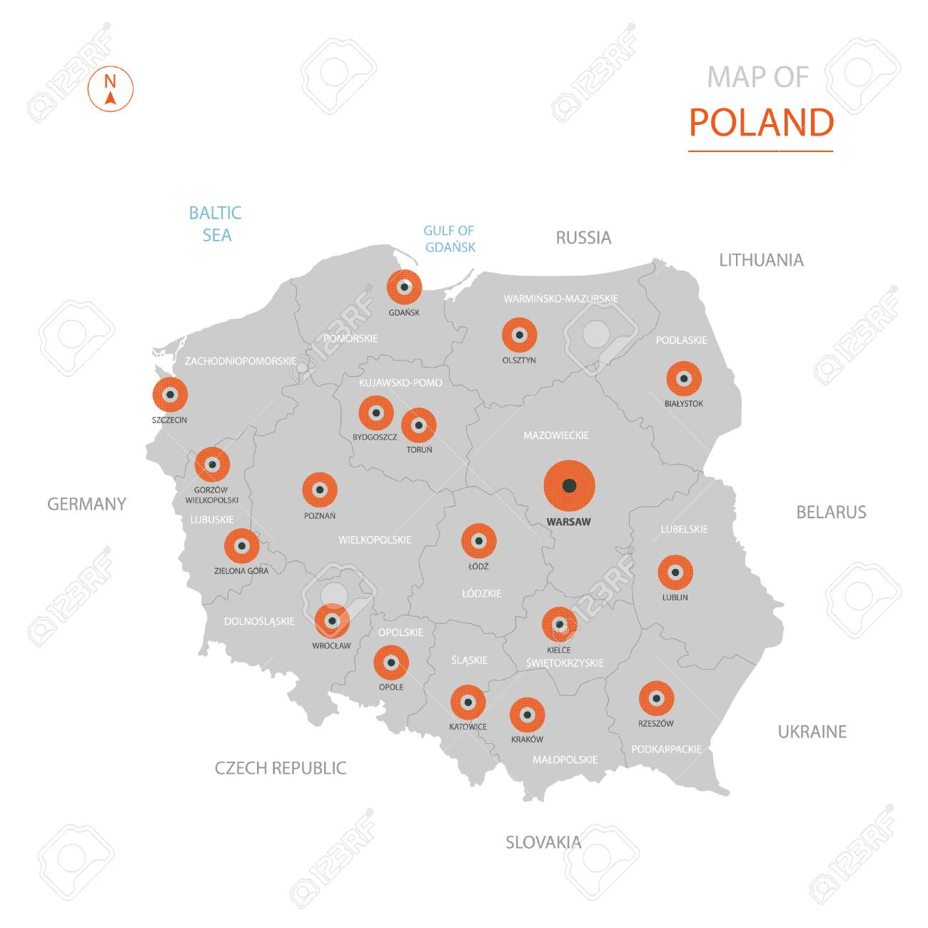 Capital Of Poland Map.Stylized Vector Poland Map Showing Big Cities Capital Warsaw