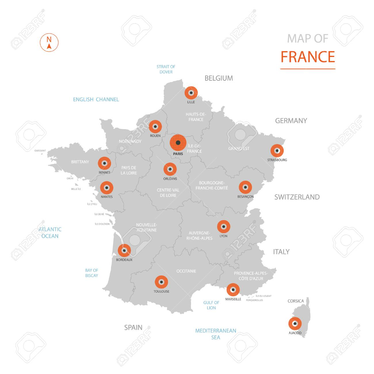 Map Of France Showing Paris.Stylized Vector France Map Showing Big Cities Capital Paris