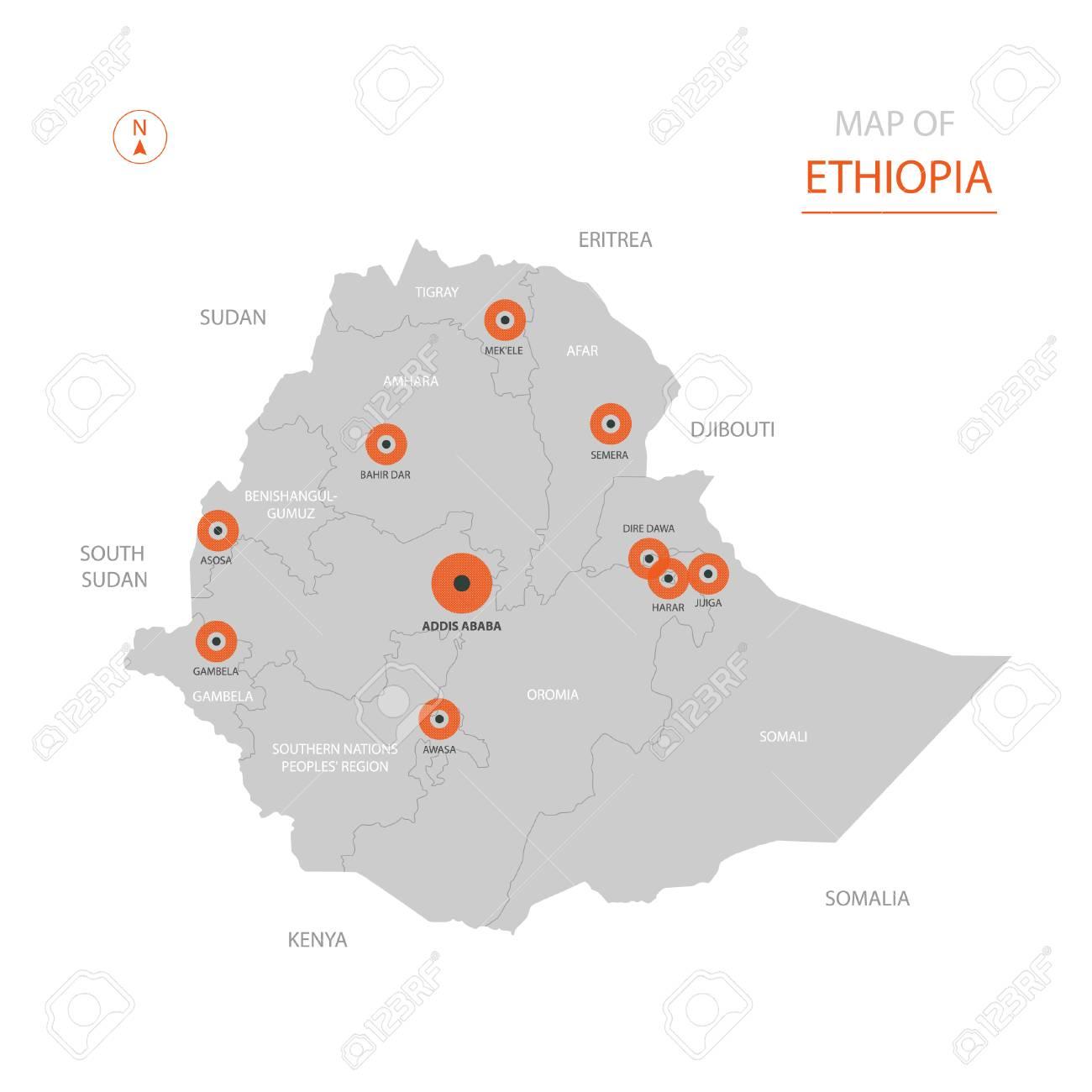 Stylized Vector Ethiopia Map Showing Big Cities, Capital Addis ...