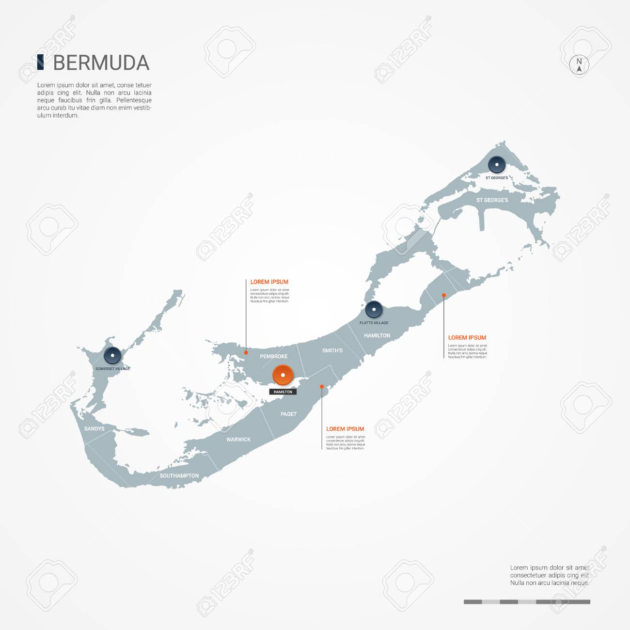 Bermuda Map With Borders, Cities, Capital And Administrative ...
