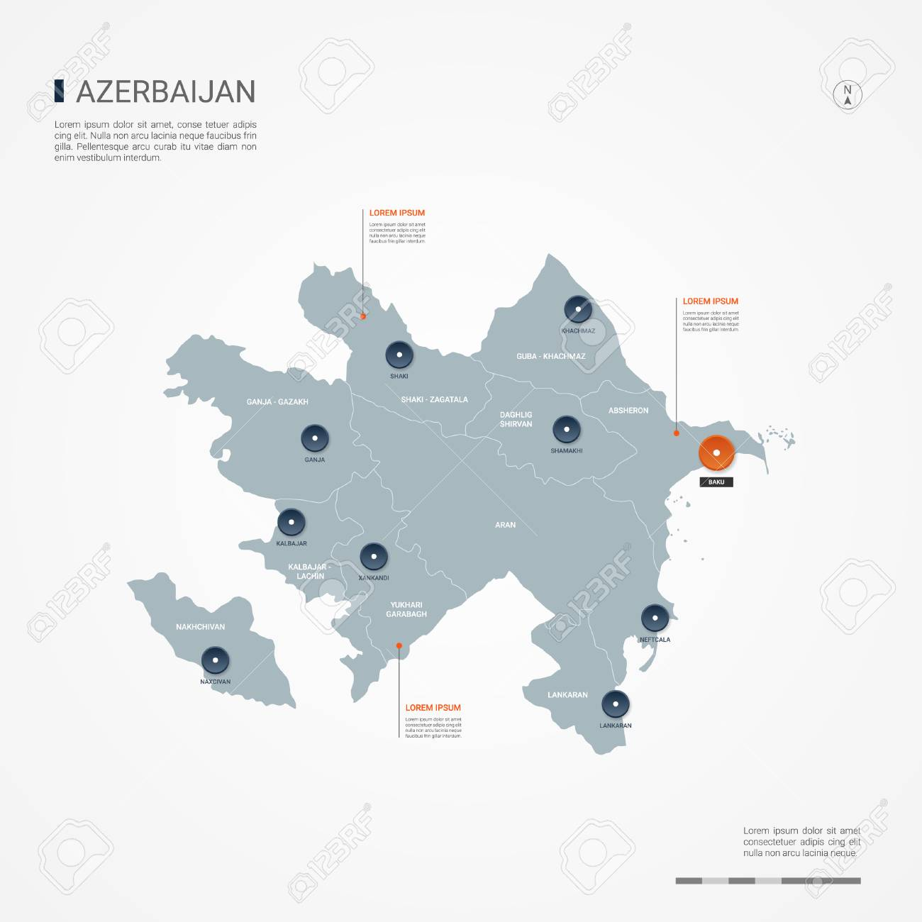 Azerbaijan map with borders, cities, capital Baku and administrative divisions. Infographic vector map. Editable layers clearly labeled. - 107367374