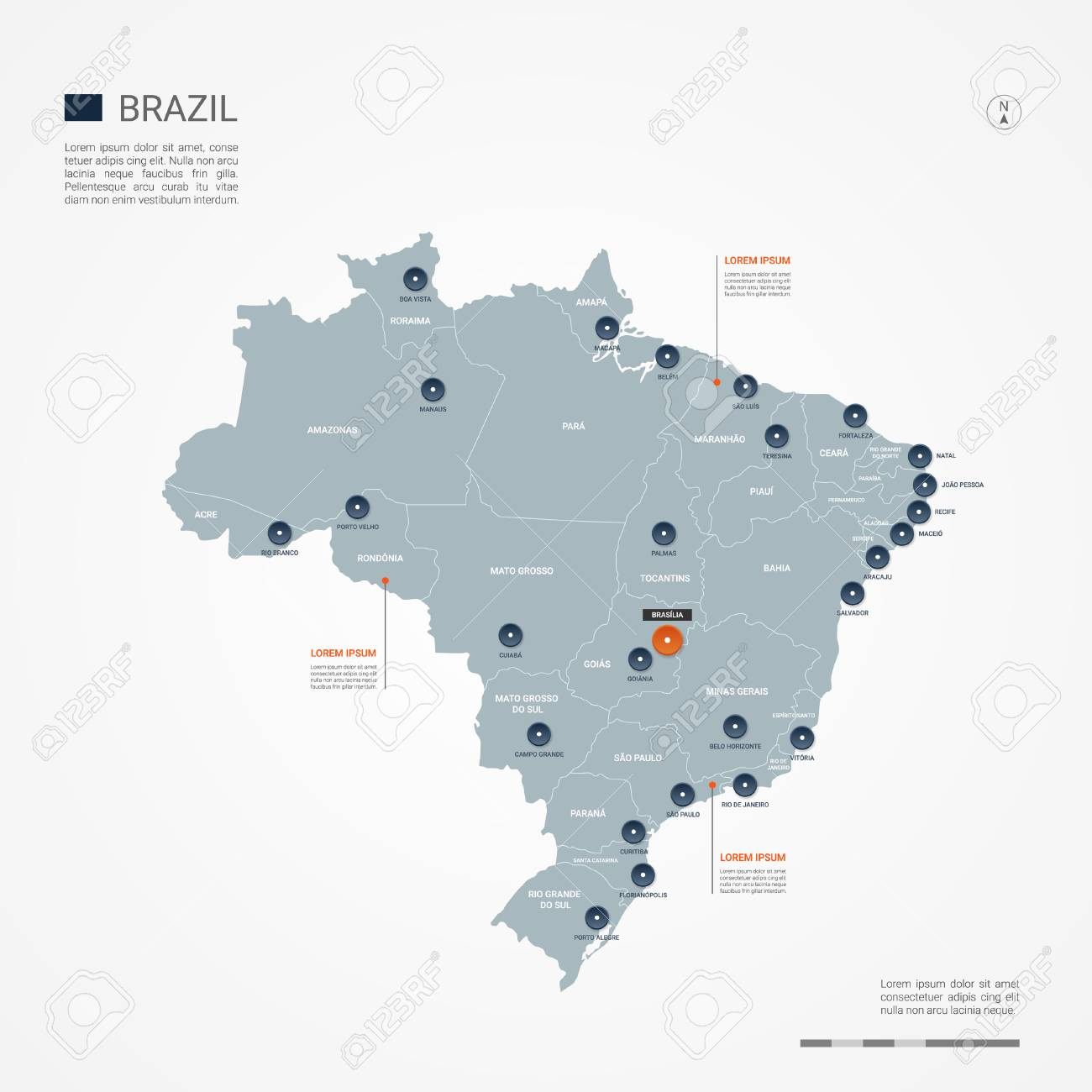 Brazil Map With Borders, Cities, Capital And Administrative ...