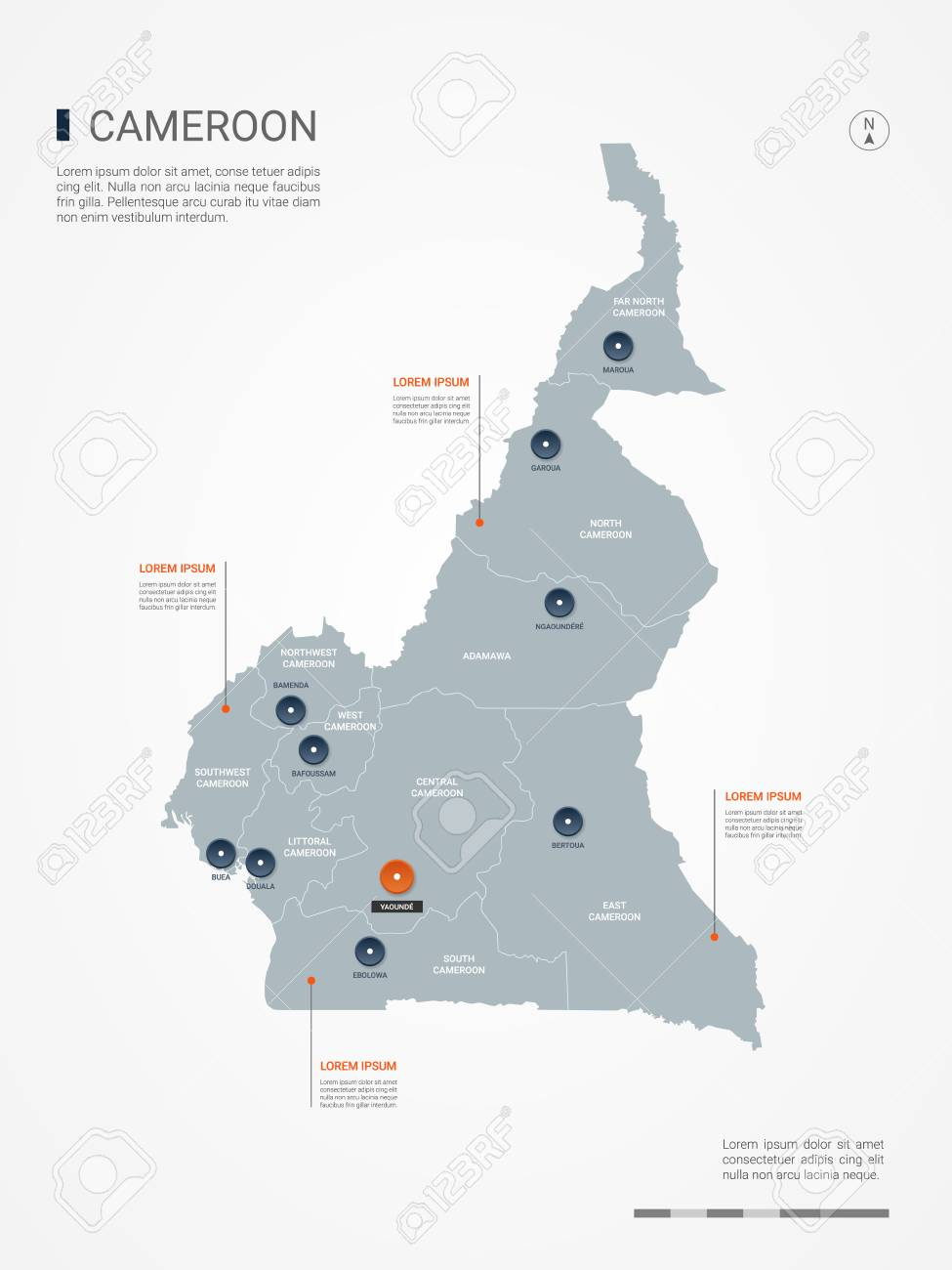 Cameroon Map With Borders, Cities, Capital And Administrative ... on