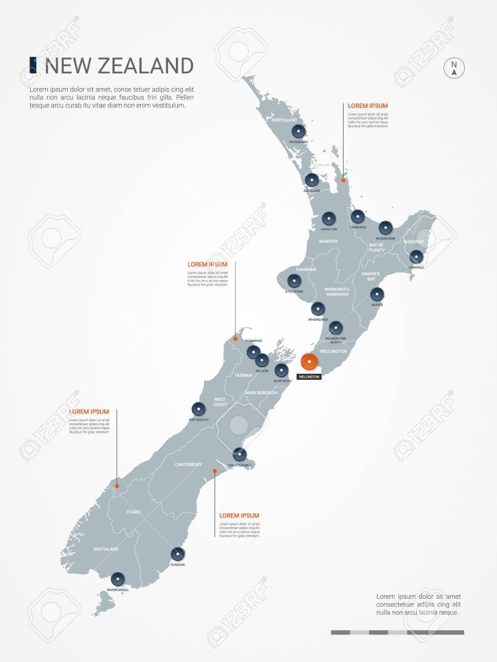 New Zealand Cities Map.New Zealand Map With Borders Cities Capital And Administrative