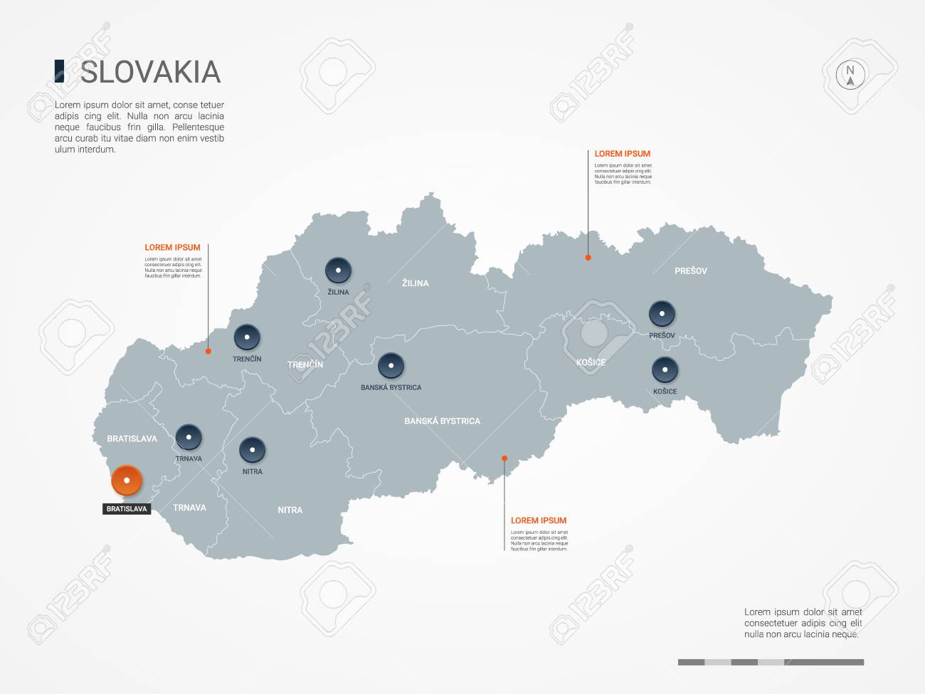Slovakia Map With Borders, Cities, Capital And Administrative ...