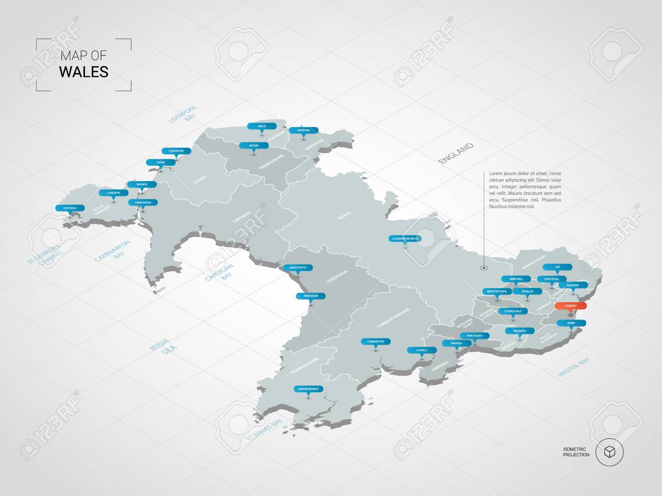 Map Of England And Wales With Cities.Isometric 3d Wales Map Stylized Vector Map Illustration With