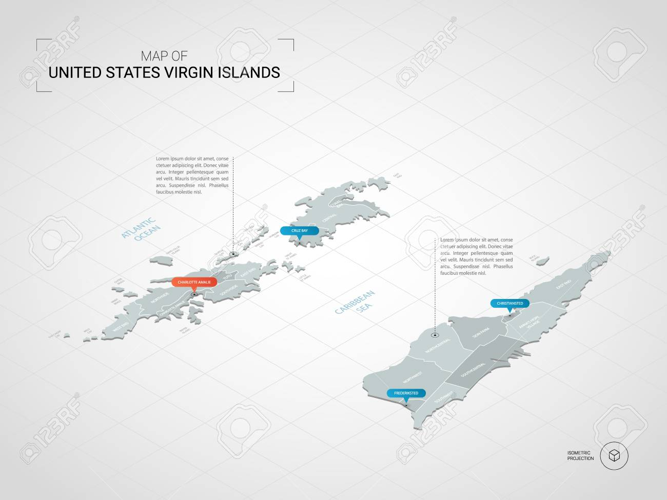 Isometric 3D Virgin Islands Map. Stylized Vector Map Illustration ...