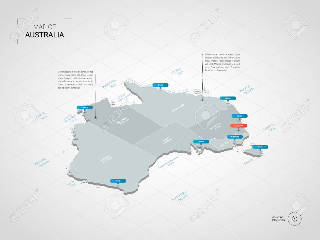 Cities Australia Map.Isometric 3d Australia Map Stylized Vector Map Illustration