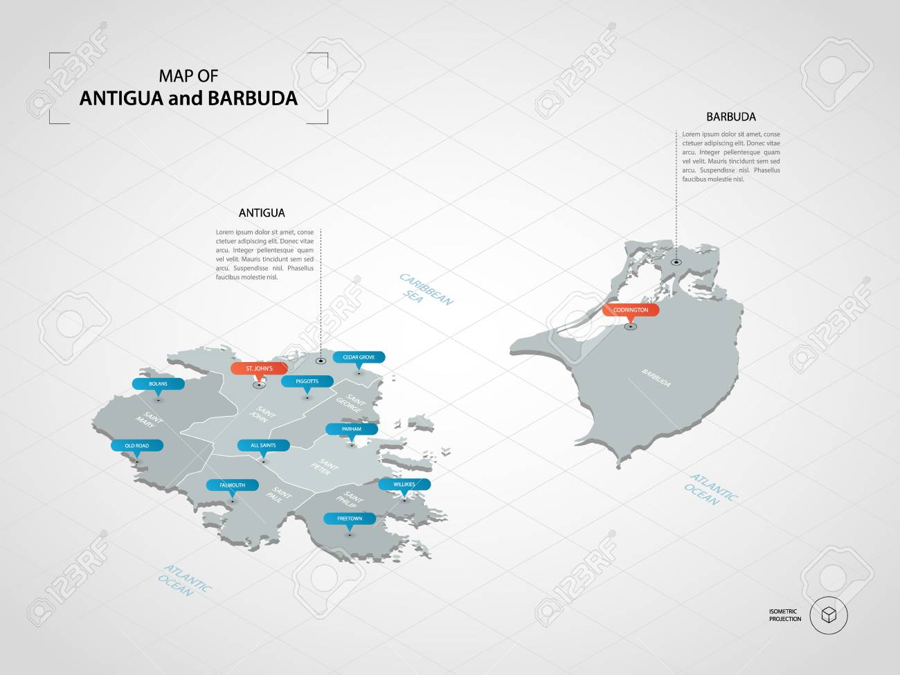 Isometric 3D Antigua And Barbuda Map. Stylized Vector Map ...