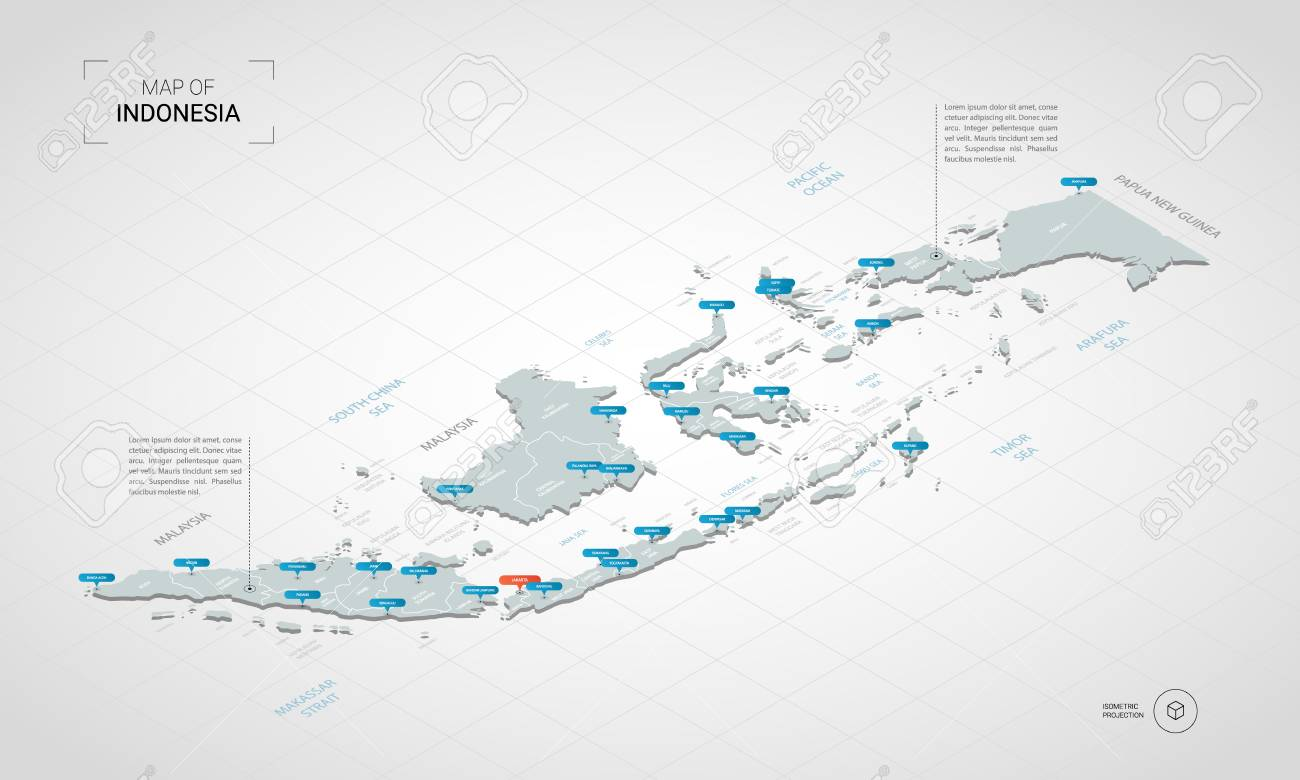 Isometric 3D Indonesia map. Stylized vector map illustration with cities, borders, capital, administrative divisions and pointer marks; gradient background with grid. - 108501011