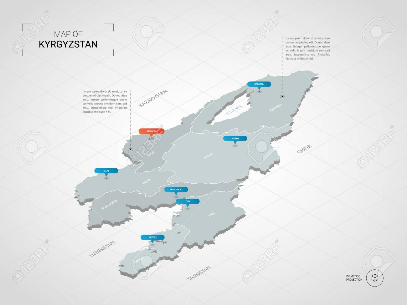 Isometric 3D Kyrgyzstan Map. Stylized Vector Map Illustration ...