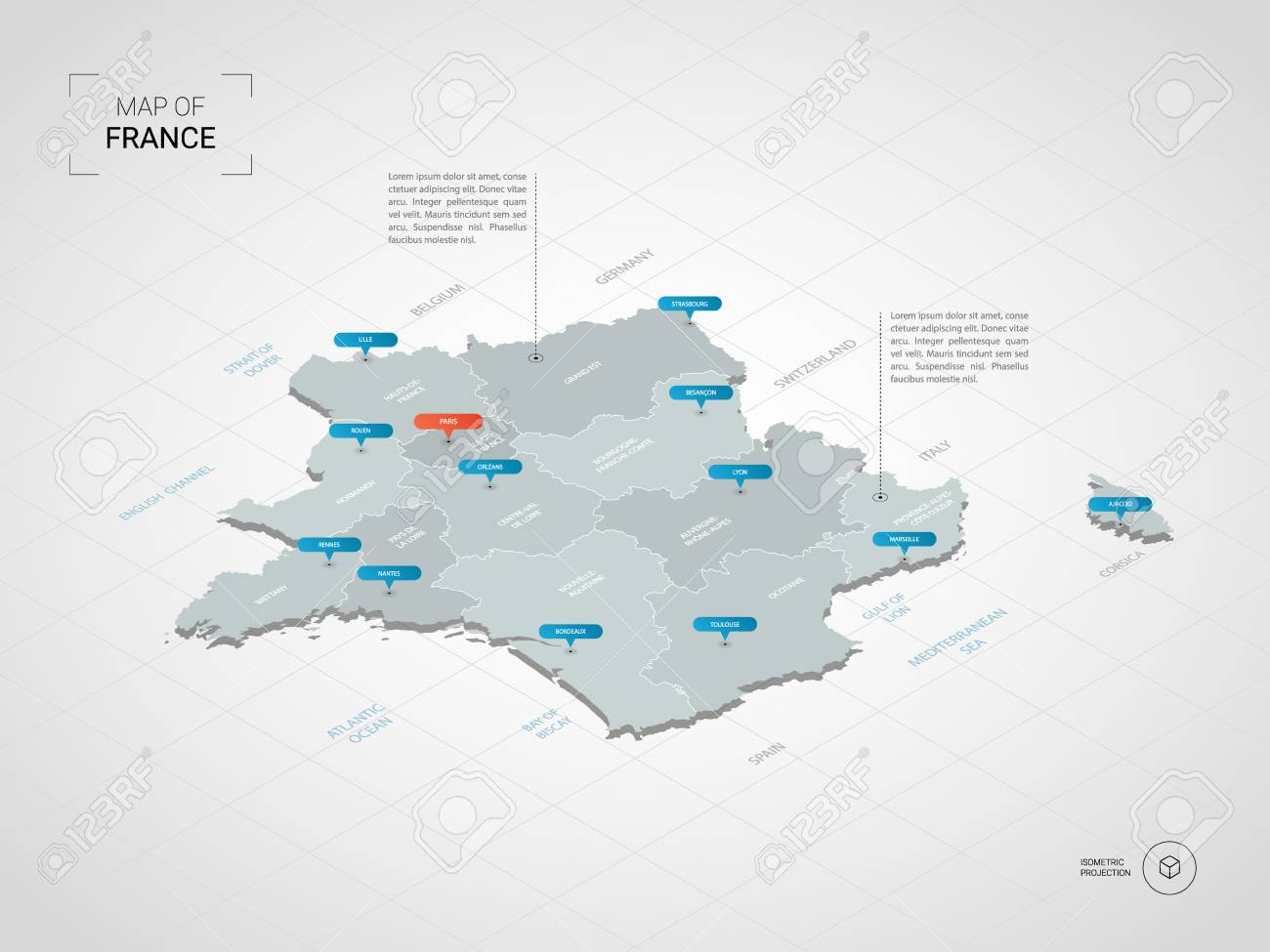 Map Of France With Cities In English.Isometric 3d France Map Stylized Vector Map Illustration With