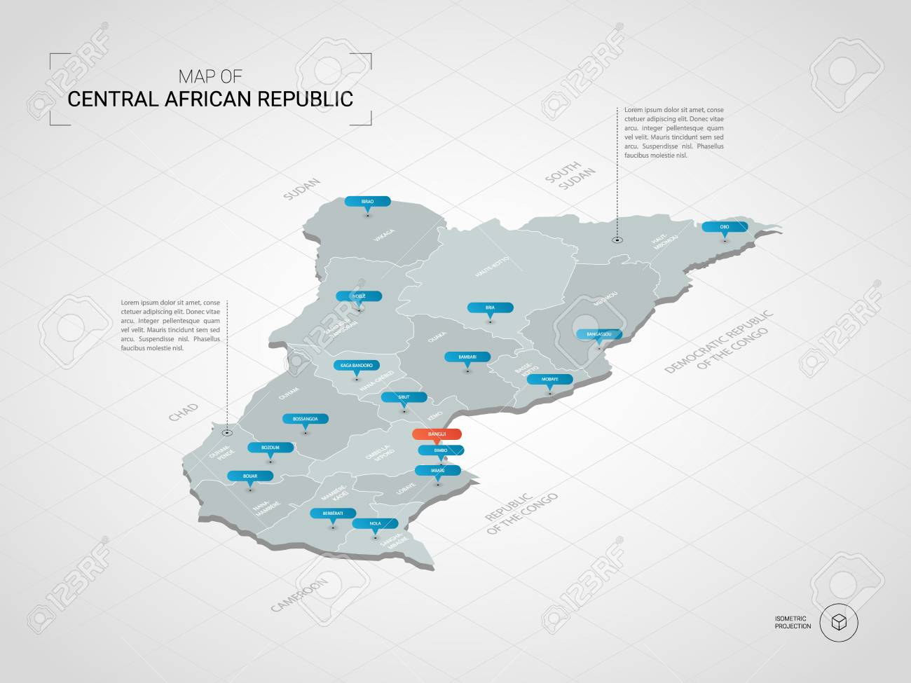Isometric 3D Central African Republic Map. Stylized Vector Map ... on